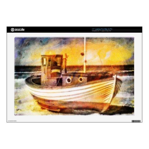 Barco de pesca náutico en la playa en el arte del  portátil 43,2cm skins