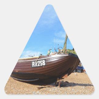Barco de pesca tradicional pegatina triangular