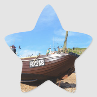 Barco de pesca tradicional pegatina en forma de estrella