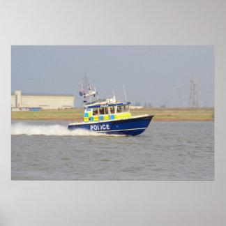 Barco de policía de alta velocidad poster