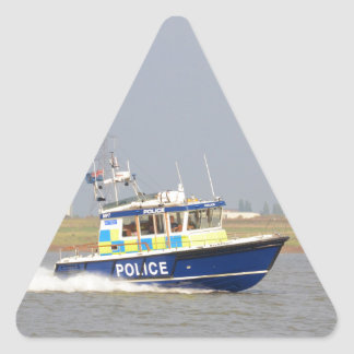 Barco de policía de alta velocidad pegatina triangular