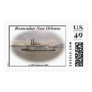 Barco de río criollo New Orleans Timbres Postales