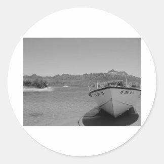 barco de río del bw pegatina redonda