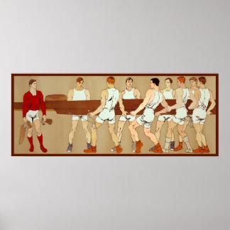 Barco de Rowing de los fans de deportes del vintag Póster