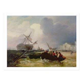 Barco de Rowing que va a la ayuda de una guerra de Tarjetas Postales
