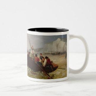Barco de Rowing que va a la ayuda de una guerra de Taza