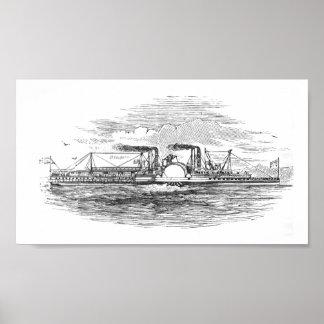 Barco de vapor 1854 de Mississippi Poster