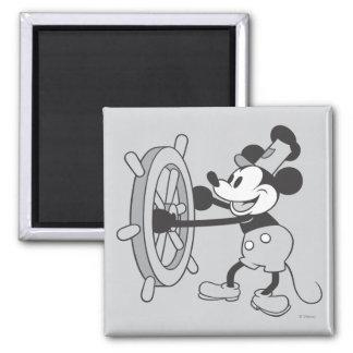 Barco de vapor clásico Willie de Mickey el | Imán Cuadrado