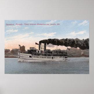 Barco de vapor de Kennedy que se va para Bremerton Póster