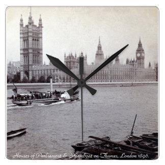 Barco de vapor de Londres del vintage, casas del Reloj Cuadrado