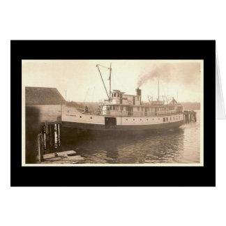 Barco de vapor del isleño del vintage tarjeta de felicitación