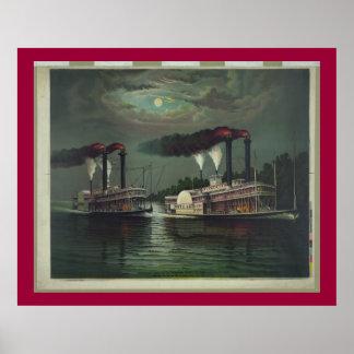 Barco de vapor del vintage en la litografía de Mis Poster