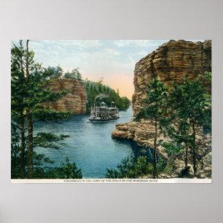 Barco de vapor Dells del vintage del río Wisconsi Poster