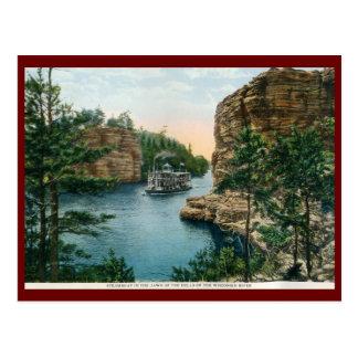 Barco de vapor, Dells del vintage del río Wisconsi Tarjeta Postal