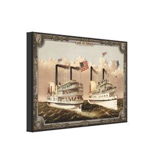 Barco de vapor dos en el mar. Edad del vapor #006. Lona Estirada Galerías
