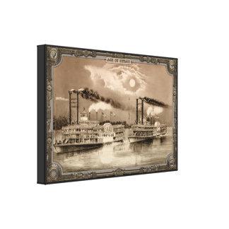 Barco de vapor dos en el río. Edad del vapor #007. Lona Envuelta Para Galerías