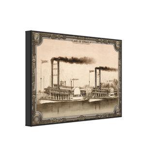 Barco de vapor dos en el río. Edad del vapor #010. Impresión En Lienzo Estirada