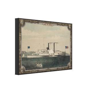 Barco de vapor en el mar. Edad del vapor #013. Impresion De Lienzo