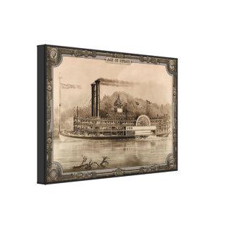 Barco de vapor en el río. Edad del vapor #005. Impresion De Lienzo