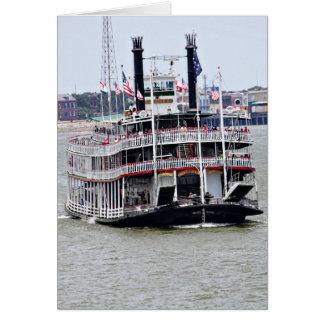 Barco de vapor en el río Misisipi Tarjeton