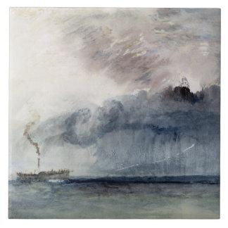 Barco de vapor en una tormenta, c.1841 (w/c y lápi azulejo cuadrado grande
