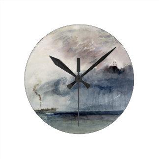 Barco de vapor en una tormenta, c.1841 (w/c y lápi reloj redondo mediano