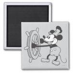 Barco de vapor Willie Mickey Mouse Imán Cuadrado