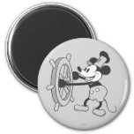 Barco de vapor Willie Mickey Mouse Imán Redondo 5 Cm