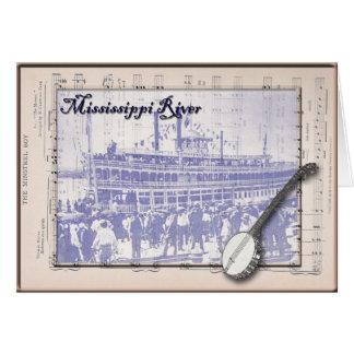 Barco de vapor y música tarjetón