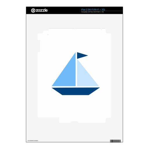 Barco de vela azul calcomanía para el iPad 2