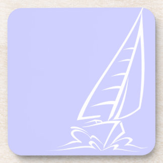 Barco de vela azul de la lavanda posavaso