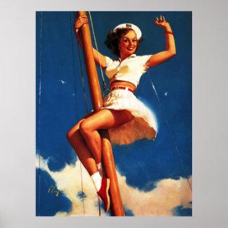 Barco de vela de Gil Elvgren del vintage que naveg Poster