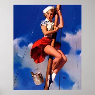 Barco de vela de Gil Elvgren del vintage que naveg Impresiones