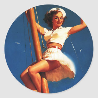 Barco de vela de Gil Elvgren del vintage que Pegatina Redonda