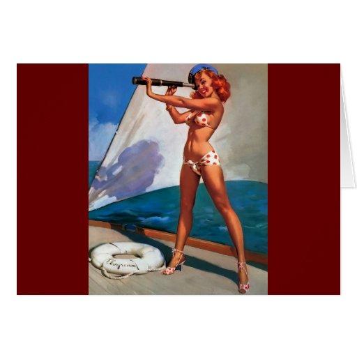 Barco de vela de Gil Elvgren del vintage que Tarjeta De Felicitación
