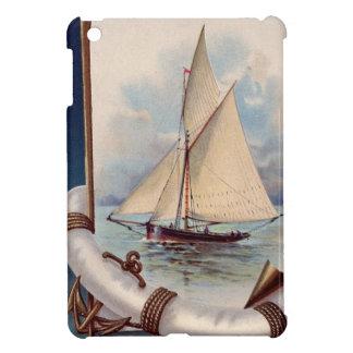 Barco de vela del vintage con el salvador, la cuer iPad mini funda