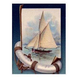 Barco de vela del vintage con el salvador, la cuer postal