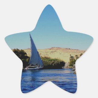 Barco de vela en el Nilo azul en la foto de Egipto Colcomanias Forma De Estrellaes