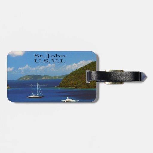 Barco de vela en San Juan Etiqueta De Maleta