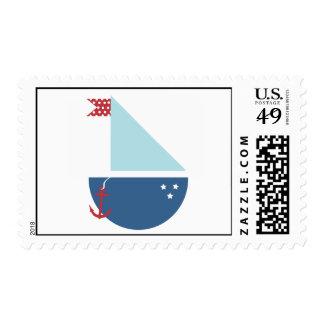 Barco de vela estampilla
