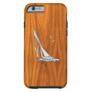 Barco de vela náutico del cromo en la impresión de funda de iPhone 6 tough