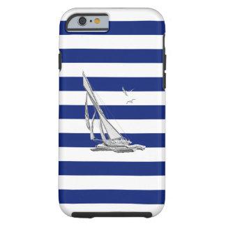 Barco de vela náutico del cromo en la impresión de funda para iPhone 6 tough