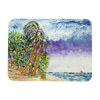 Barco de vela y playa solitarios de Carolina del Iman
