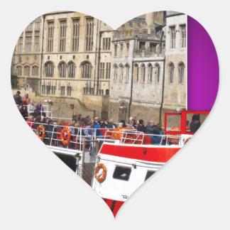 Barco de York fuera de los límites Pegatina En Forma De Corazón