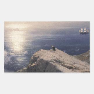 Barco del agua del vintage de Ivan Aivazovsky que Pegatina Rectangular