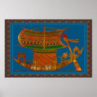 Barco del arte popular egipcio de las cañas poster