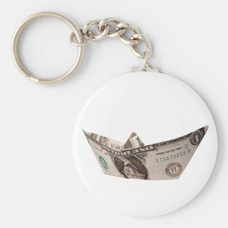 Barco del dólar llavero redondo tipo pin