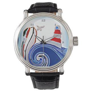 Barco del faro en los mares abstractos reloj