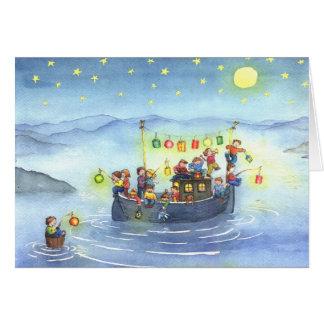 Barco del fiesta con la tarjeta de cumpleaños de