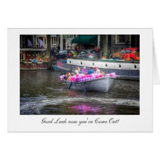 Barco del fiesta del globo - suerte con salir tarjeta de felicitación